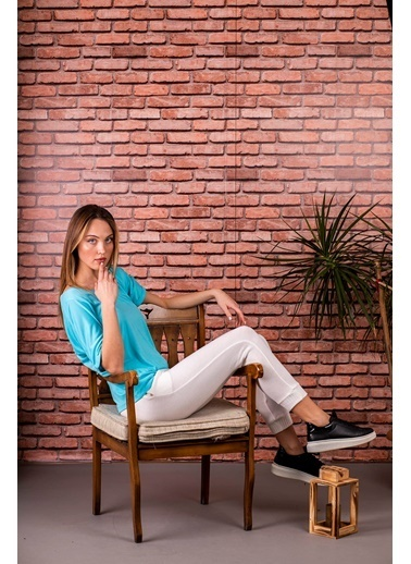 Stamina  Bayan V Yaka Kısa Kıol Geniş Bluz-5VS04 Turkuaz